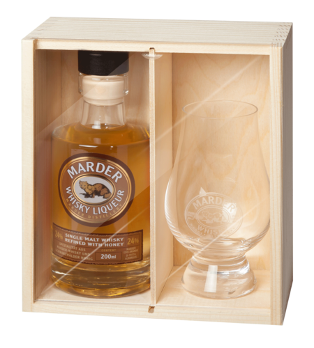 Marder Whisky Liqueur + Whisky Glas